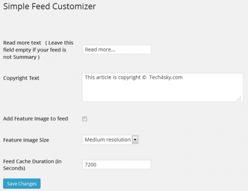 Simple Feed Customizer