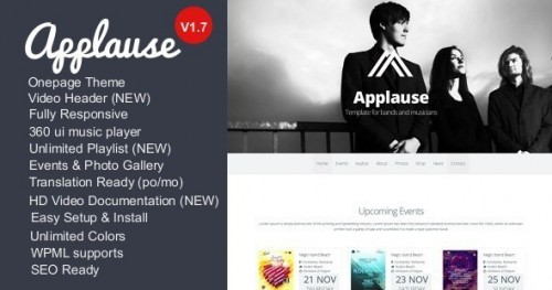 Applause One Page Responsive Music & DJ WP Theme