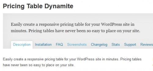 Pricing Table Dynamite