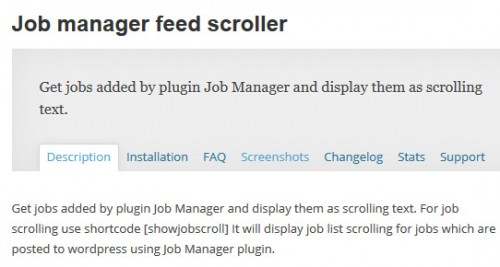 Job Manager Feed Scroller