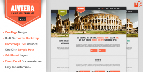 Alveera - Responsive HTML5 Single Page Theme