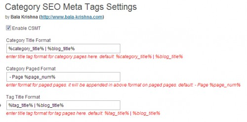 Category SEO Meta Tags
