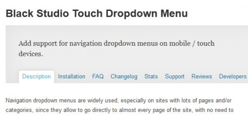 Black Studio Touch Dropdown Menu