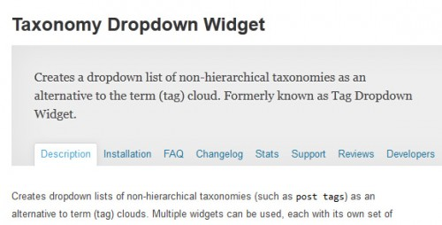 Taxonomy Dropdown