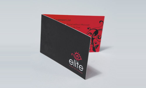 Red and Black Folded Business Card