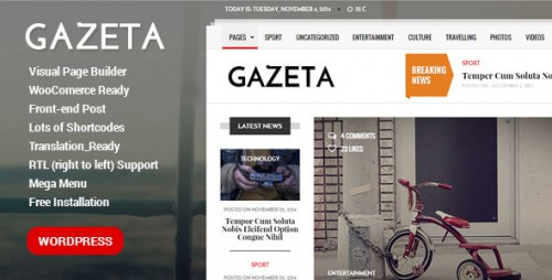 Gazeta - News, Magazine, Newspaper WordPress Theme