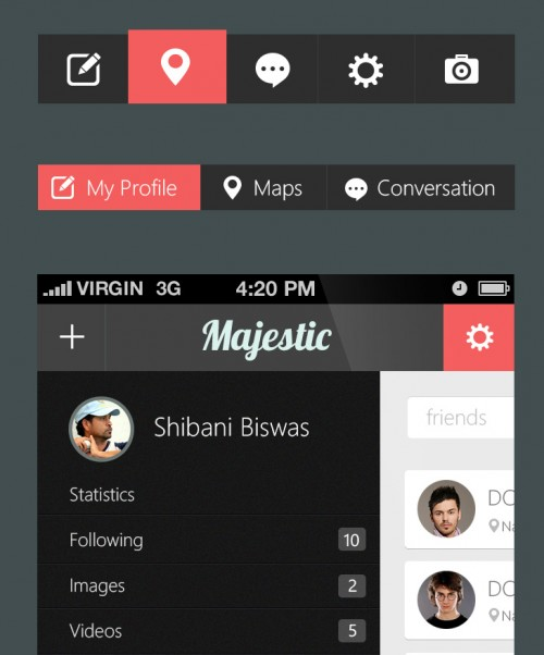 Free Mobile Application UI Kit PSD